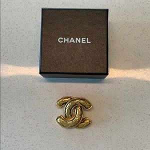Authentic Vintage Chanel CC Brooch with Box